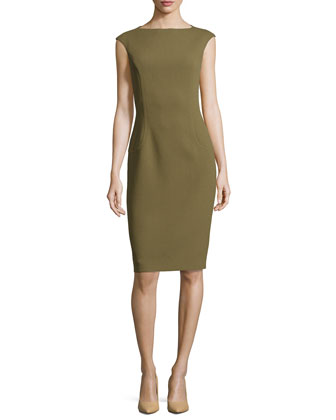 Cap-Sleeve Sheath Dress, Military