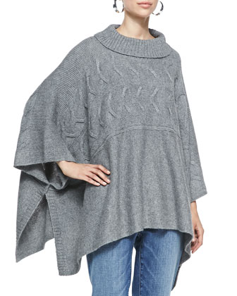 Lofty Funnel-Neck Poncho Top, Ash, Women's
