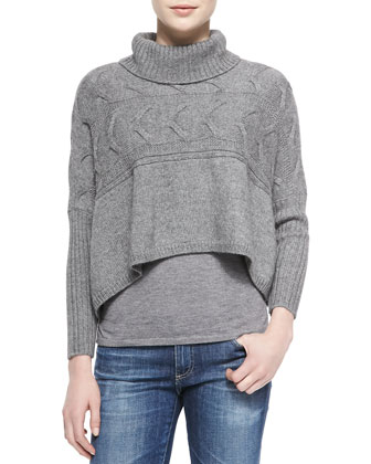 Cropped Turtleneck Poncho Top, Ash, Petite