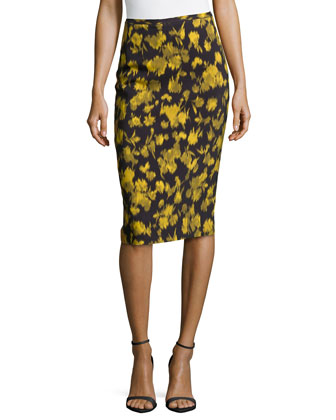 Leaf-Print Pencil Skirt