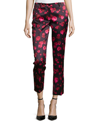 Samantha Cropped Floral-Print Pants, Rose/Black
