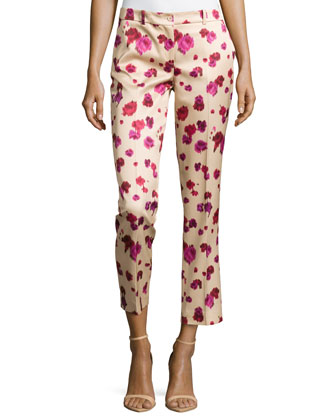 Samantha Cropped Floral-Print Pants, Rose/Nude