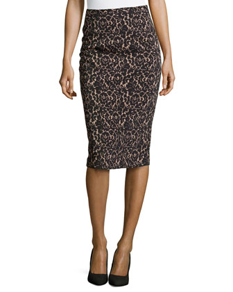 Floral Lace Knee-Length Pencil Skirt, Black/Nude