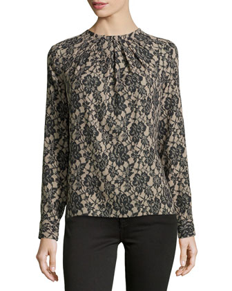Lace-Print Long-Sleeve Shell, Black/Nude