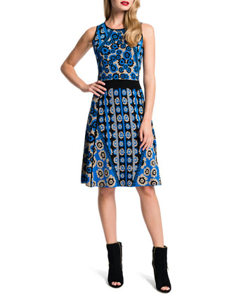 Inga Combo-Print Fit & Flare Dress