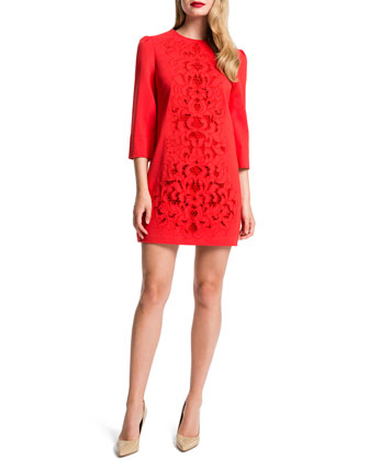 Anya Lace-Front Mini Dress, Flame