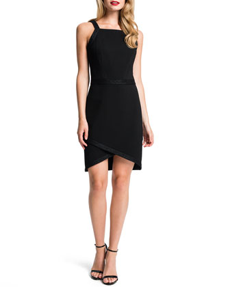 Billie Lace-Trim Tulip-Hem Dress, Black