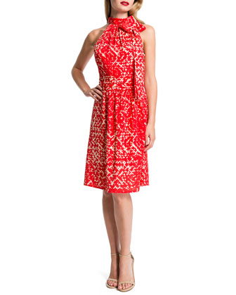 Meera Sleeveless Printed Tie-Neck Dress