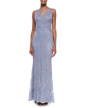 Zuri Sleeveless Lace Appliqu?? Gown