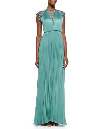 Zakaria Cap-Sleeve Silk Gown W/ Embroidered Yoke