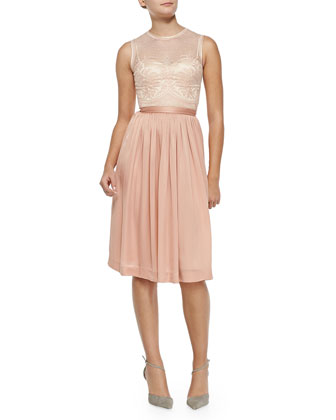 Zaina Embroidered-Bodice Cocktail Dress