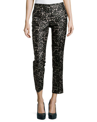 Samantha Cropped Lace-Print Pants, Black/Nude