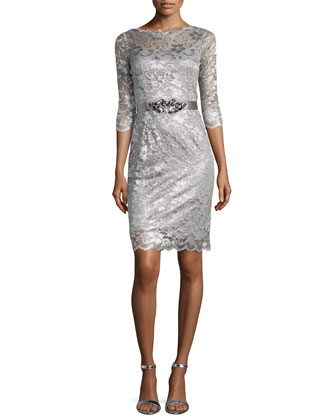 Lace Cocktail Dress W/ Jewel, Charcoal