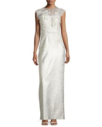 Cap-Sleeve Flower Applique Column Gown