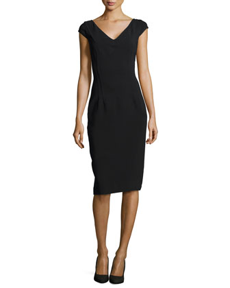 V-Neck Princess Sheath Dress, Black