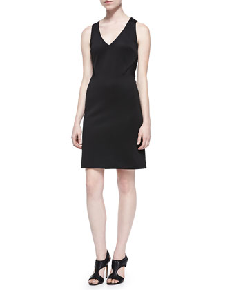 Sleeveless Scuba Dress W/ Mesh Back