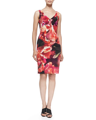 Sleeveless Seamed Floral Cocktail Dress