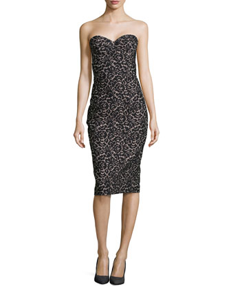 Strapless Lace Jacquard Sheath Dress, Black/Nude