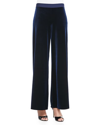 Velour Wide-Leg Pants, Navy, Petite