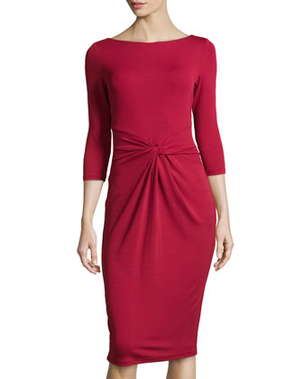Twist-Front Sheath Dress, Rose