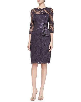 3/4-Sleeve Lace Cocktail Dress, Amethyst