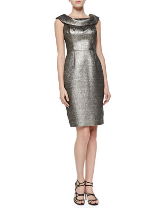 Metallic Jacquard Cocktail Dress, Gold