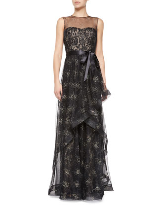 Sleeveless Illusion Lace-Overlay Evening Gown