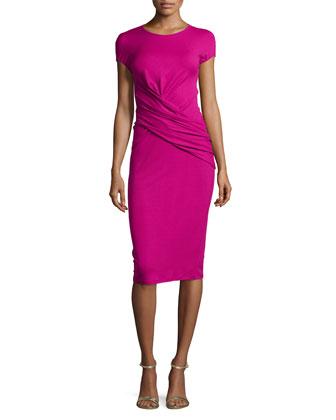 Cap-Sleeve Drape-Waist Dress, Peony