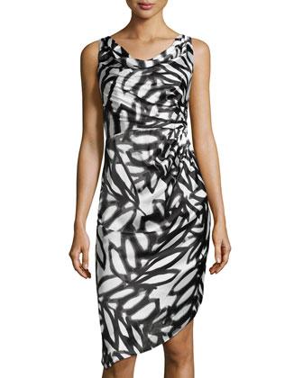 Sleeveless Asymmetric Printed Satin Dress, White/Black