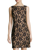 Sleeveless Lace Sheath Dress, Black/Nude