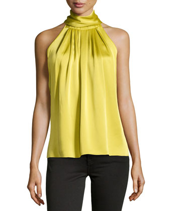 High-Neck Charmeuse Halter Top, Chartreuse