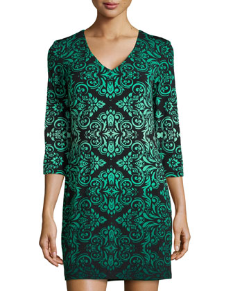 Baroque-Print Jersey Shift Dress, Green