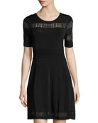 Half-Sleeve Knit Dress, Black