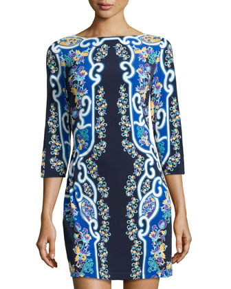 Floral Mirror-Print Jersey Dress, Midnight