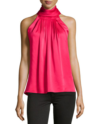 High-Neck Charmeuse Halter Top, Azalea