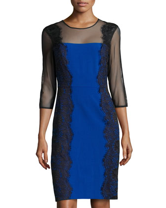 Long-Sleeve Lace Sheath Dress, Electric Blue/Black