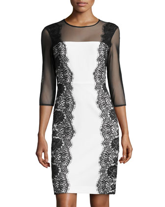 Long-Sleeve Lace Sheath Dress, Ivory/Black
