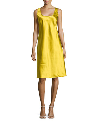 Silk Tank Slip Dress, Chartreuse