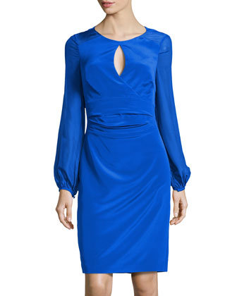 Keyhole-Front Silk Cocktail Dress, Cobalt