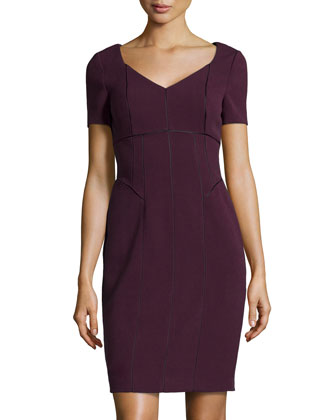 Seam-Detail Stretch Crepe Dress, Eggplant