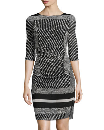 Printed Ruched-Waist Mesh Dress, Black