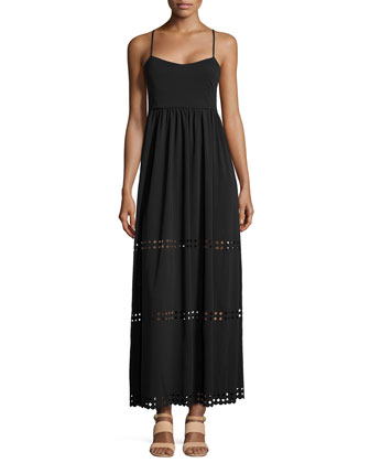 Diamond Cutout Crepe Maxi Dress, Black