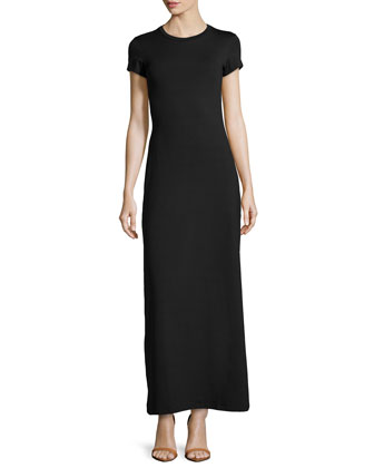 Stretch-Jersey Maxi Shirtdress, Black