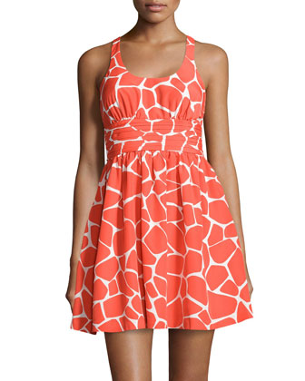 Scoop-Neck Giraffe-Print Pleated Dress, Orange