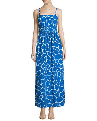 Giraffe-Print pleated Maxi Dress, Sapphire