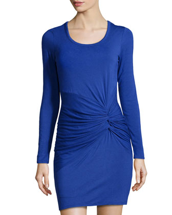 Side-Twist Jersey Dress, Twilight