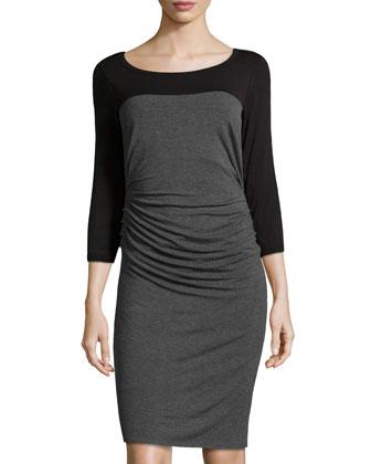 Colorblock Ruched Jersey Dress, Dark Charcoal/Black