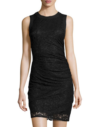 Ruched Lace Sheath Dress, Black