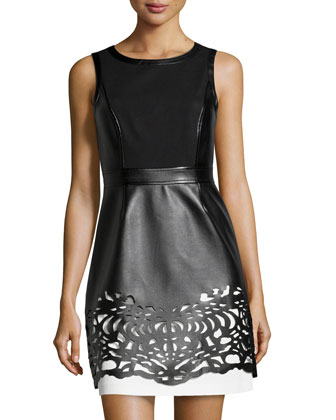 Colorblock Laser-Cut Faux-Leather Dress, Black/White