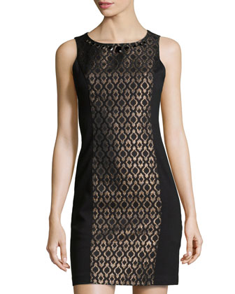 Sleeveless Jacquard Sheath Dress, Black Multi